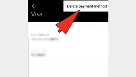 how to delete a credit card from uber