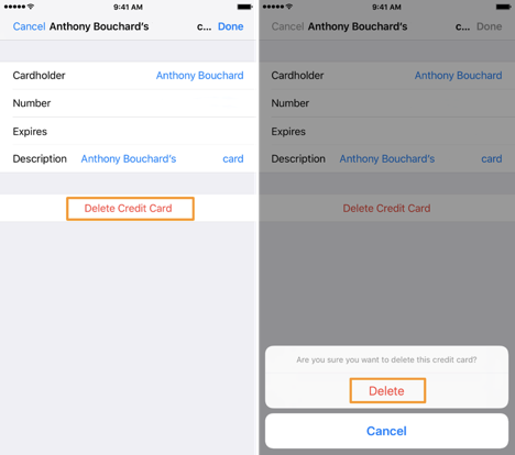 how to delete credit card from iphone