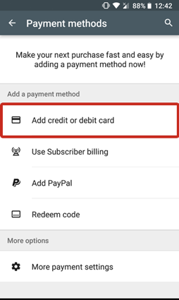 remove credit card from Google play