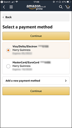 How to delete credit card from Amazon
