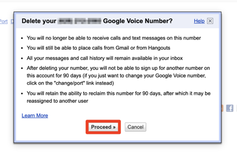 How to delete Google voice number
