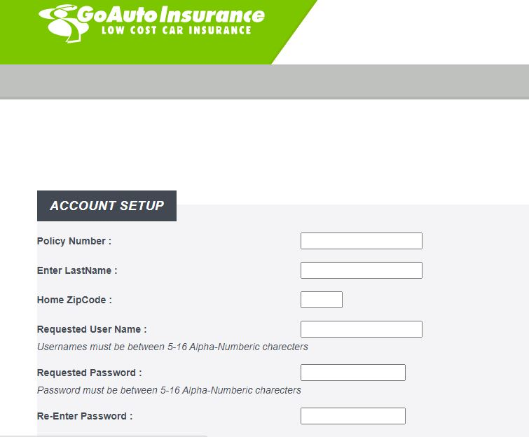 Signup Procedure of Go Auto Insurance Account
