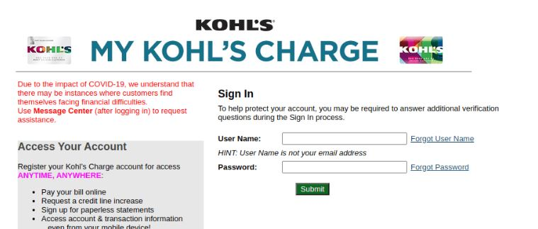 Mykohlscharge Login Procedure