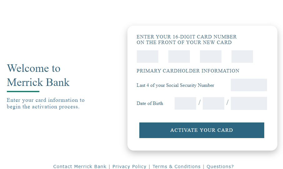Merrick Bank Credit Card Activation Through Merrickbank.com/Activate